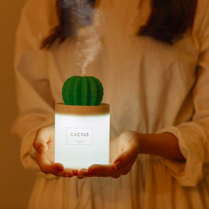 A person holding a cactus-shaped diffuser night light