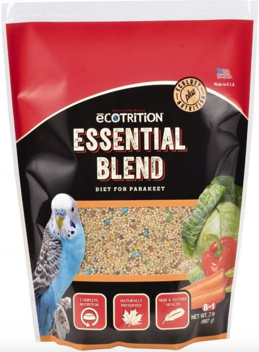 The two-pound bag of essential bird feed in a red package