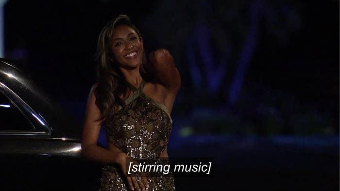 Tayshia exiting the limo