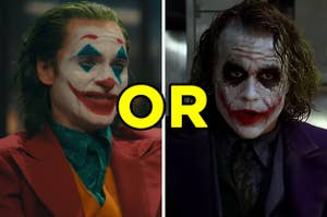 On the left, joaquin phoenix as the joker in