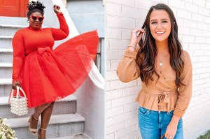 (left) Bright red tulle skirt (right) Tan peplum v-neck sweater