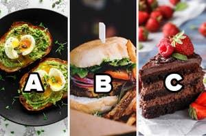 Avocado toast,  a burger, and cake