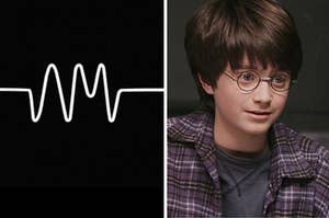 Split Image: The arctic monkeys album on the left and harry potter on the right