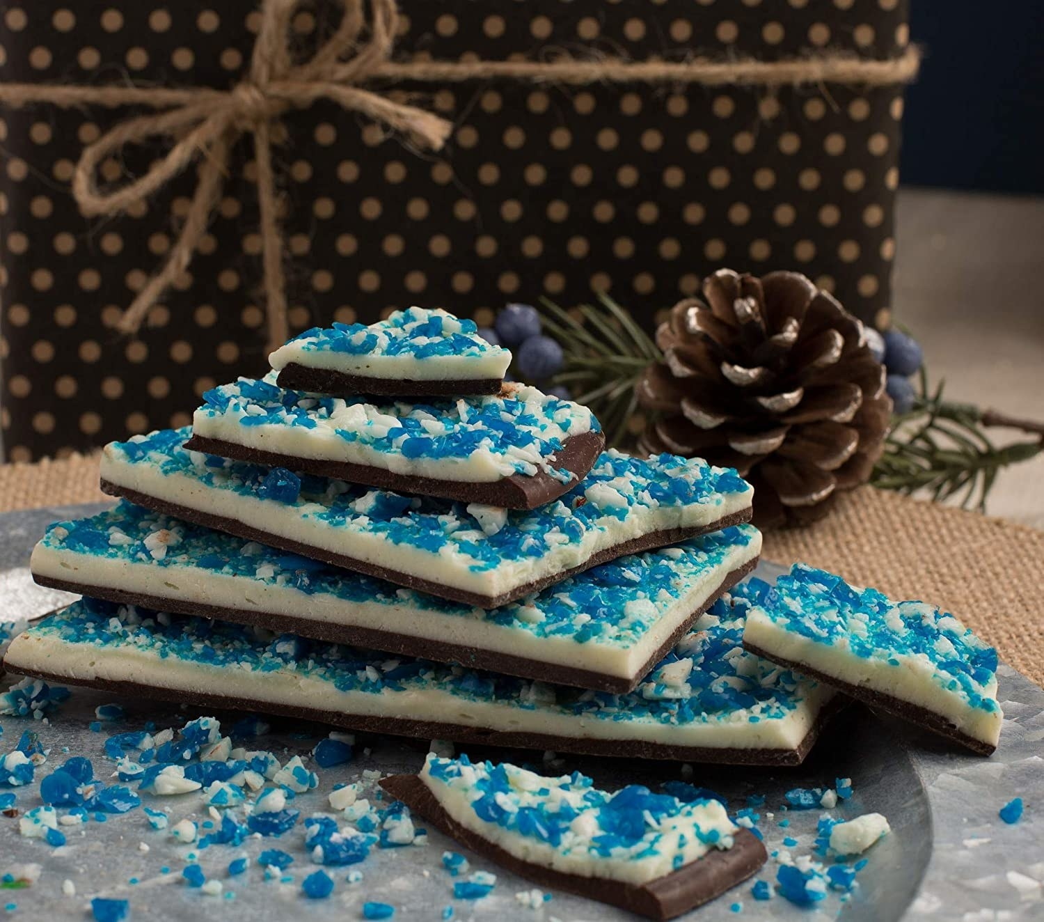 blue sugar on white and dark chocolate bark