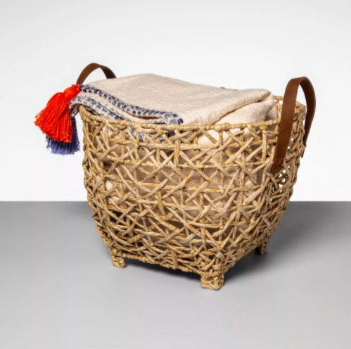 open basket with leather handles