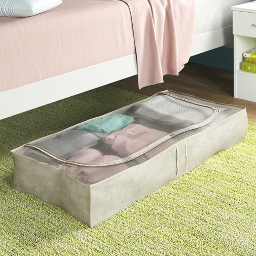 rectangular storage bag with clear top with zippered closure