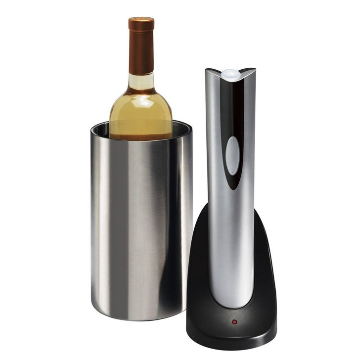 oster electric wine opener next to a chilled wine bottle