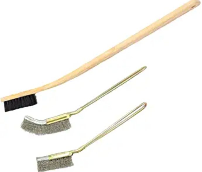 The three-pack of birdcage cleaning brushes in stainless steel and wood