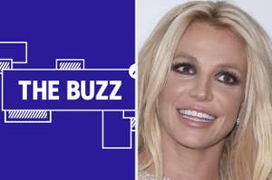 Splitscreen image of a purple graphic with THE BUZZ in white letters on one side and a photo of Britney Spears on the other. CREDIT: GETTY