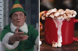 Split Image: Papa Elf from Elf on the left and a mug of hot chocolate on the right overflowing with melty marshmallows