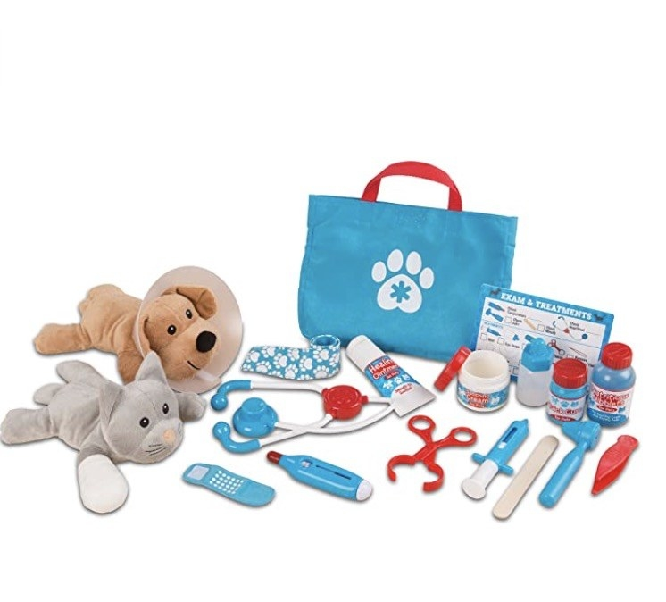 a vet kit with a plush dog and at and an array of vet tool toys