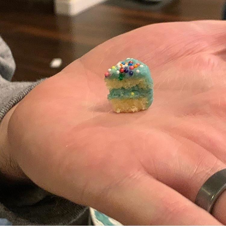 teeny-tiny slice of cake on hand