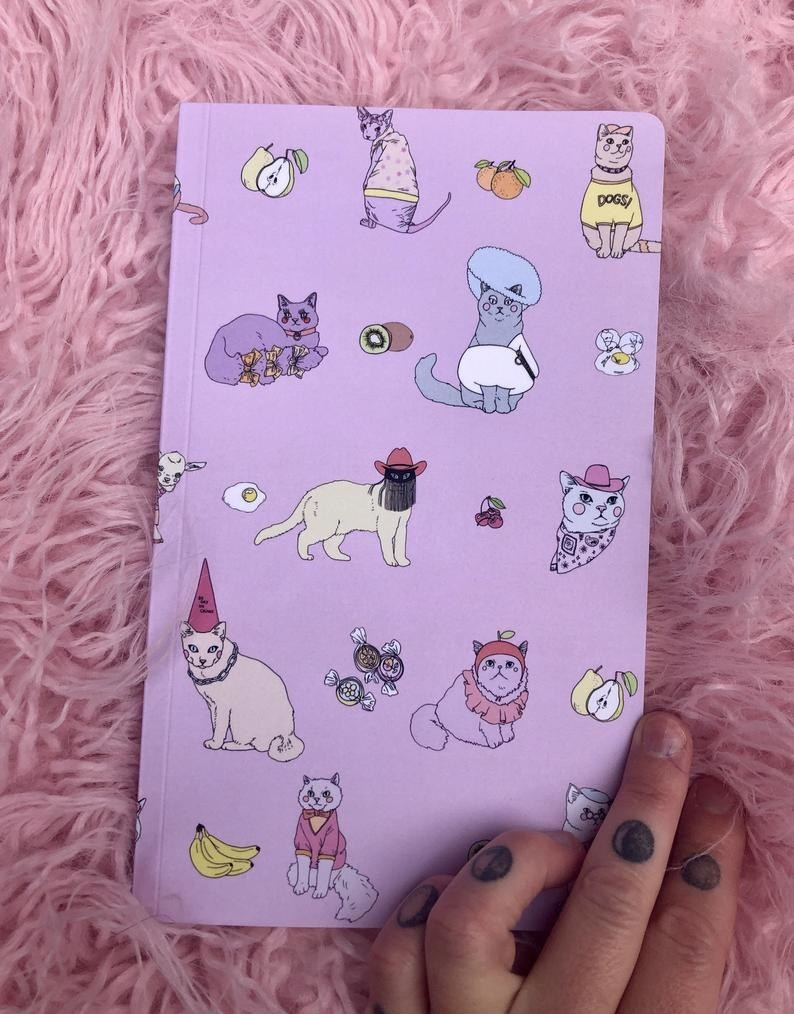 a hand holding the purple notebook with cats with clothes and fruits on the cover