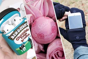 A Ben & Jerry's ear pod holder, deodorant ball, and pocket gloves