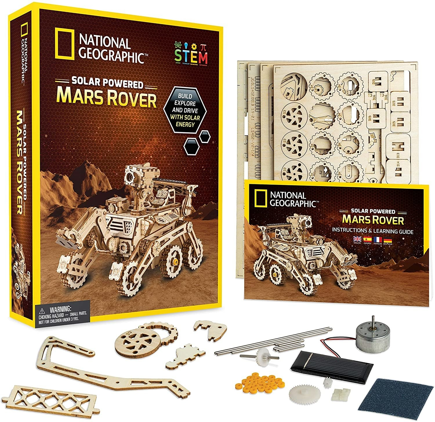 A wood model kit of a mars rover