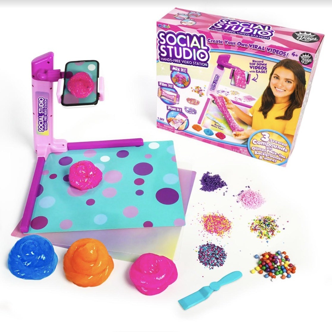 a set that has a tool to hold a phone and film the slime making process