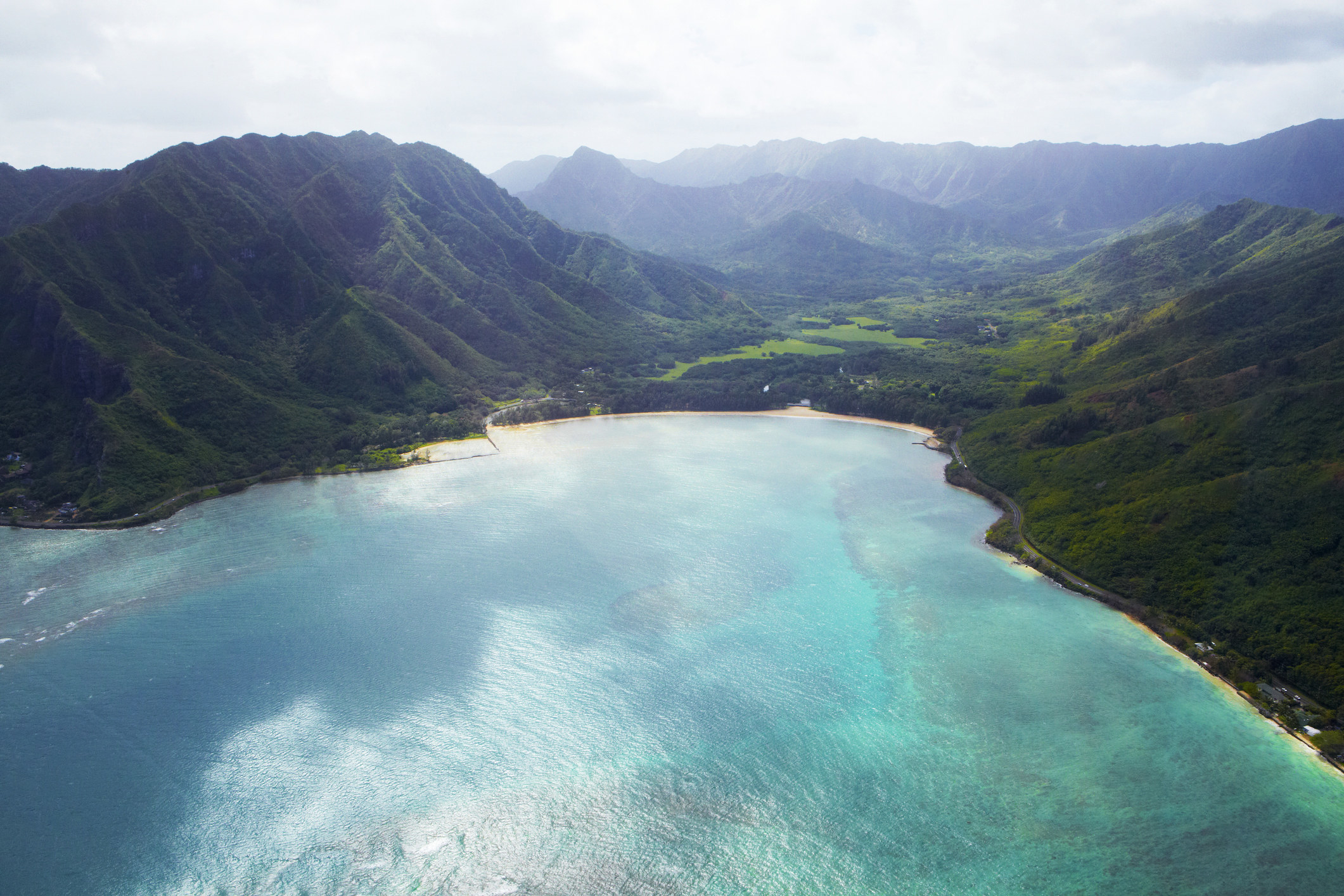 Aerial view of Kahana Valley on the Windward coast of Oahu