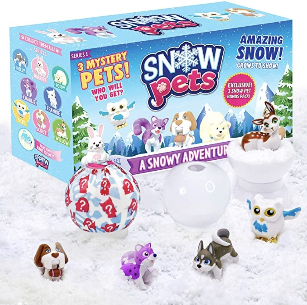 an array of snow pet toys