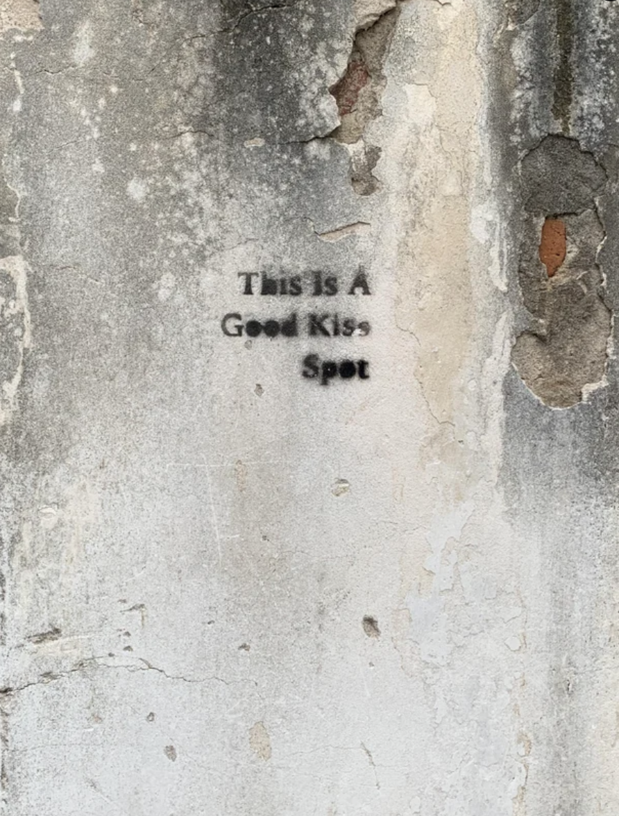 """This is a good kiss spot"" has been scrawled on a wall"
