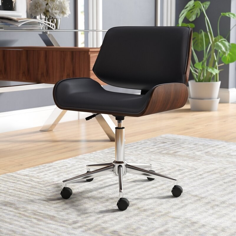 The black and wood office chair