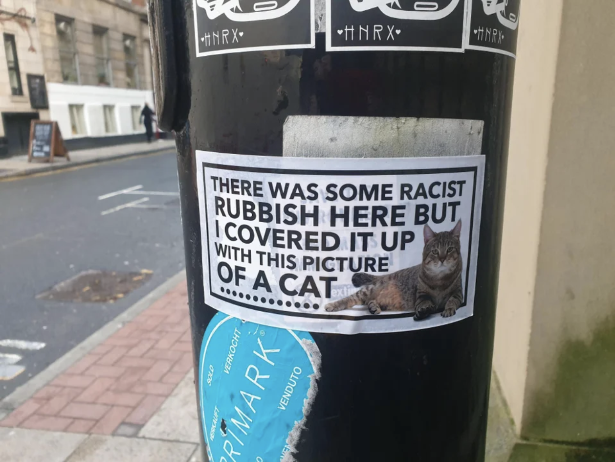 "On a post is a sticker with a cat and the text ""there was some racist rubbish here but I covered it up with this picture of a cat"""