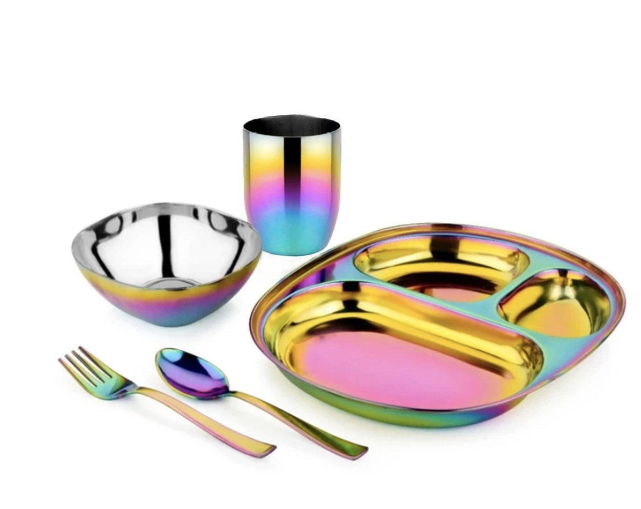 an iridescent bowl, cutlery, cup, and dish