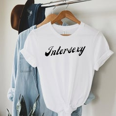 """a white t-shirt that says """"Intersexy"""""""