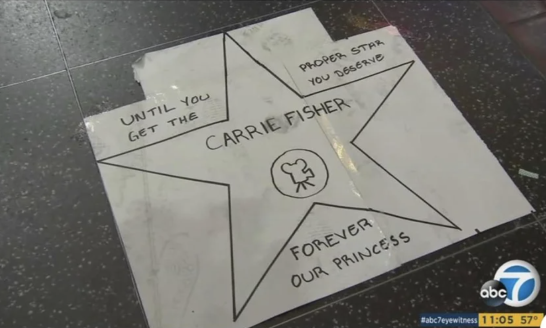 A fake star for Carrie Fisher has been put on the Hollywood Walk of Fame