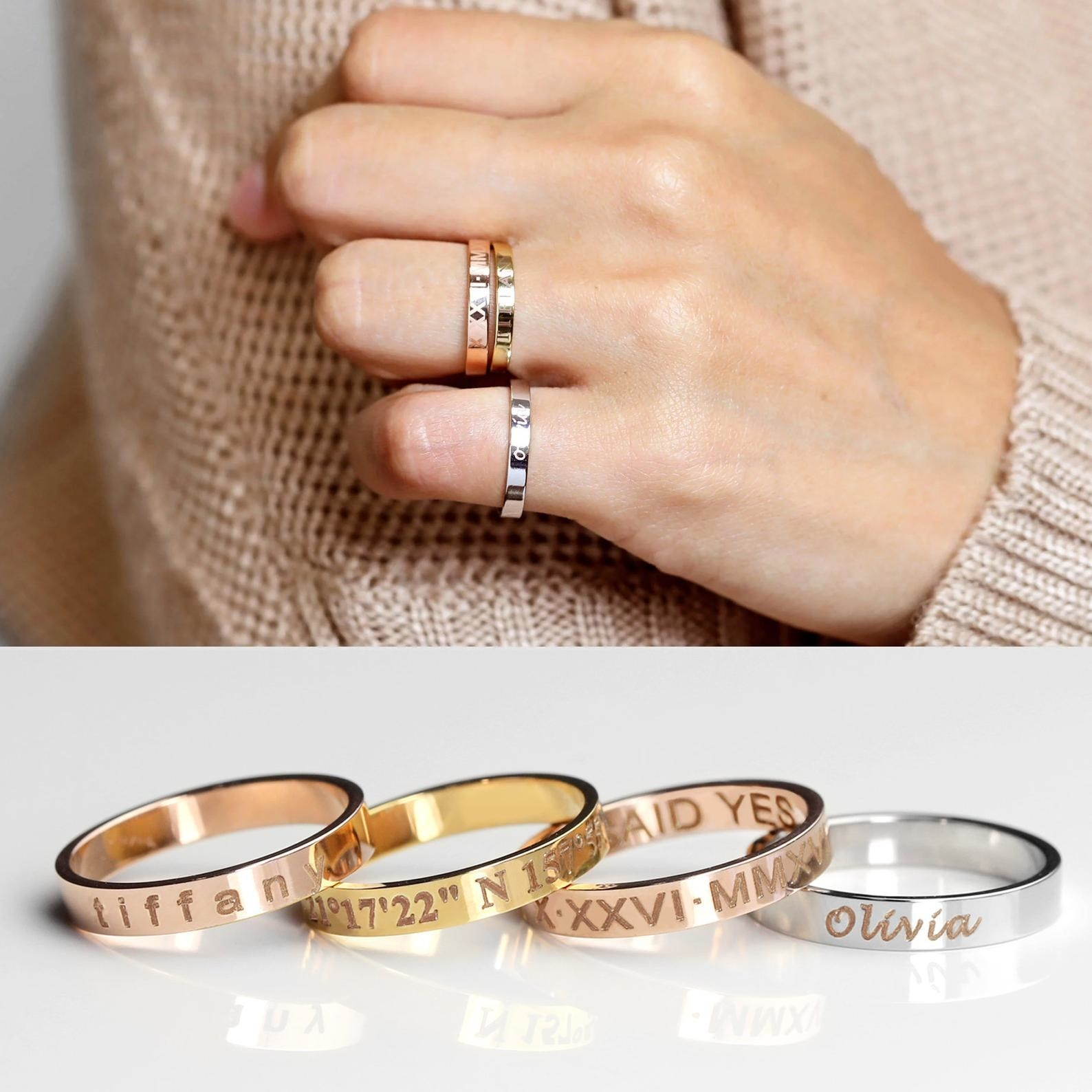 Model wearing three engraved rings and a product shot of four rings in various finishes
