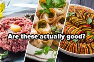 Steak tartare, escargot, and ratatouille titled,