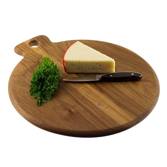Round wooden pizza board.