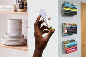 Three panels from left to right showing stacked dishes, a hand holding a tube of Glossier lib balm and floating shelves holding books