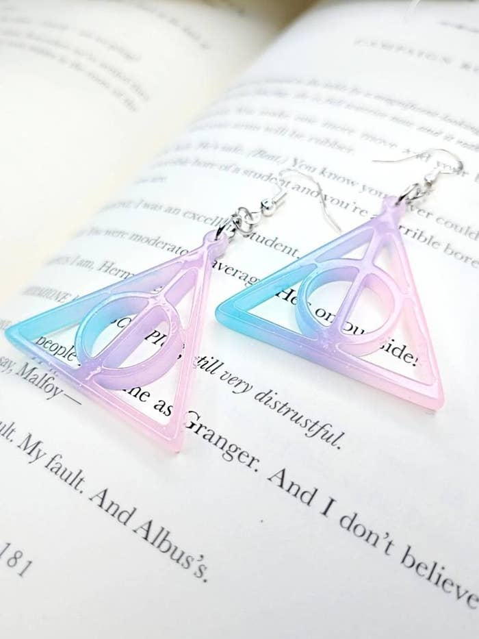 The resin drop earrings in ombre pink, blue, and purple
