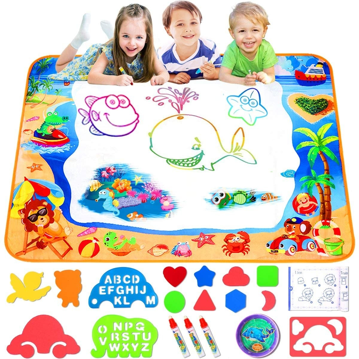 Kids drawing on a water-based magic mat
