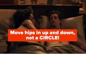 """Thumbnail with a sex scene photo, captioned, """"Move hips up and down, not a circle"""""""