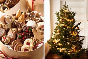 On the left, a tin with various kinds of Christmas cookies, and on the right, a Christmas tree with lights, ornaments, and ribbons on it next to a window in a living room