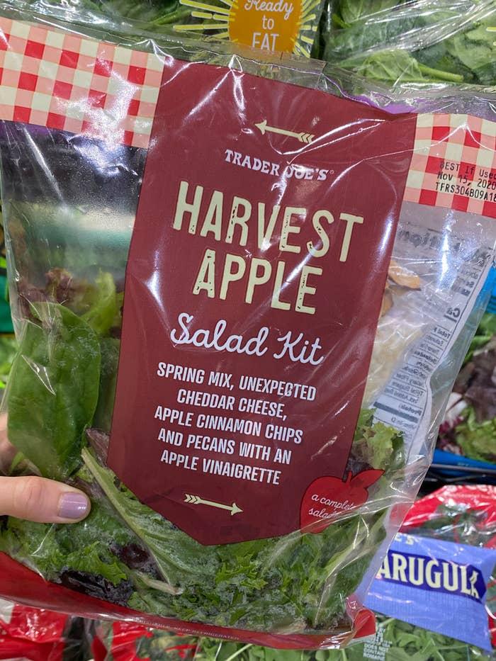 An autumn harvest salad kit from Trader Joe's.