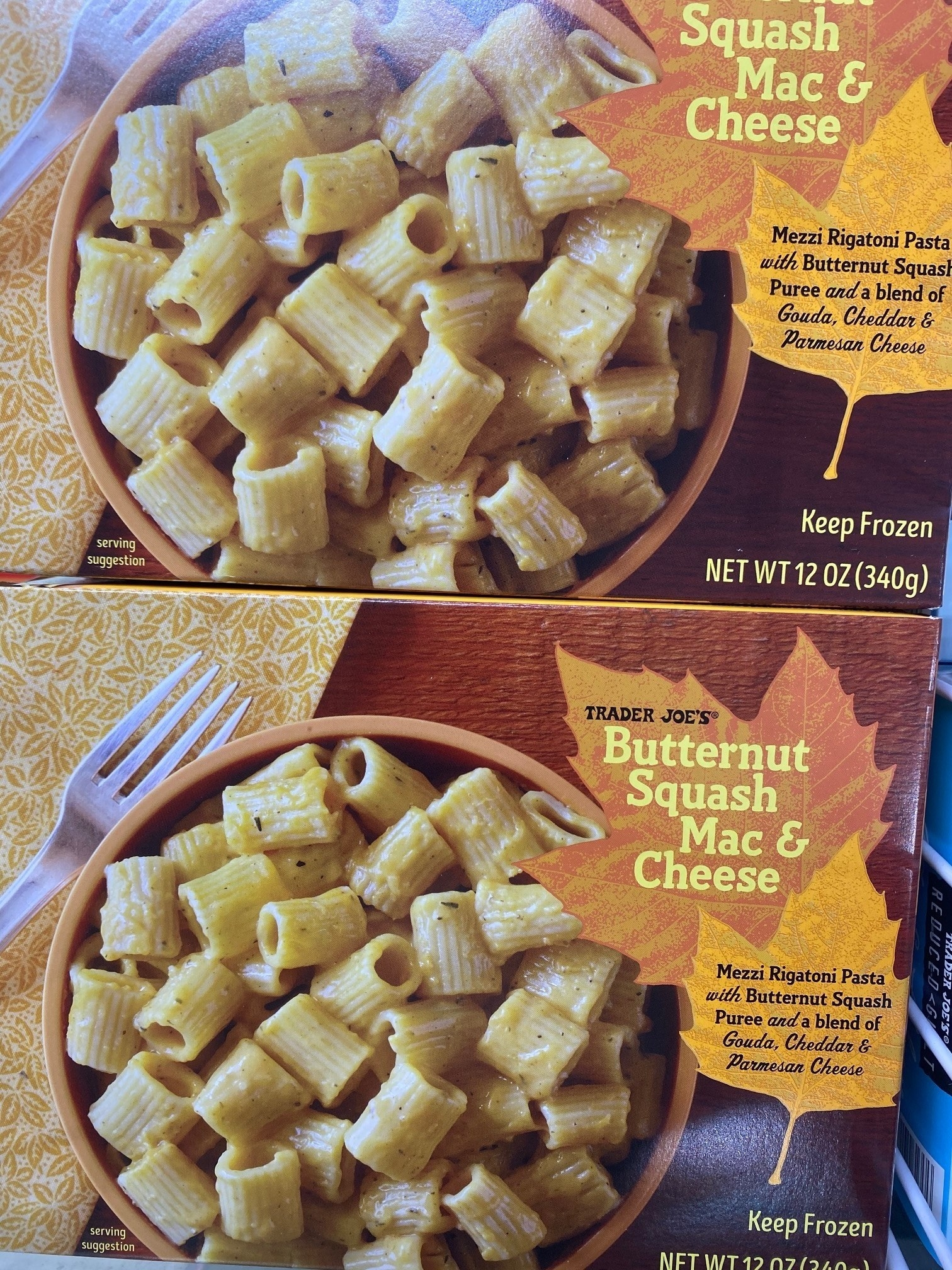 Frozen butternut squash mac 'n' cheese.
