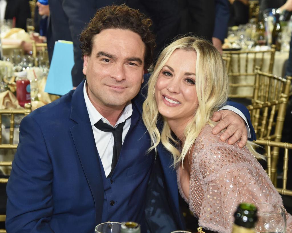 Johnny and Kaley posing at an awards show