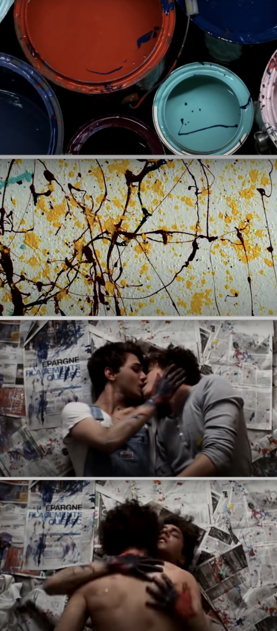 "Fran?ois Arnaud and Xavier Dolan, covered in paint while rolling around on the floor, naked, in ""I Killed My Mother"""