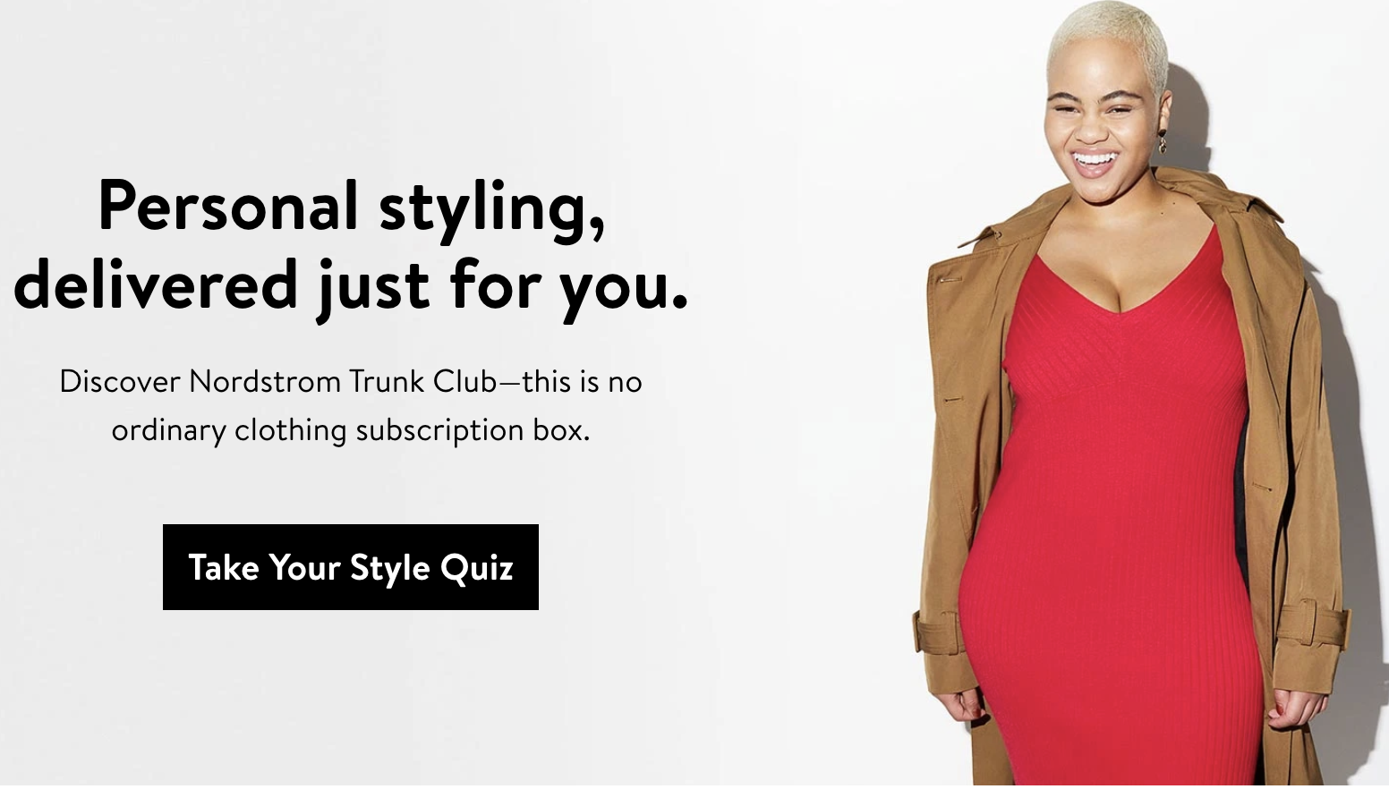 Banner for the style quiz on Nordstrom's site next to a model