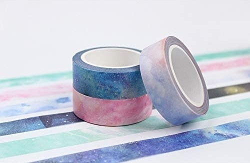Three rolls of wash tape stacked on top of each other