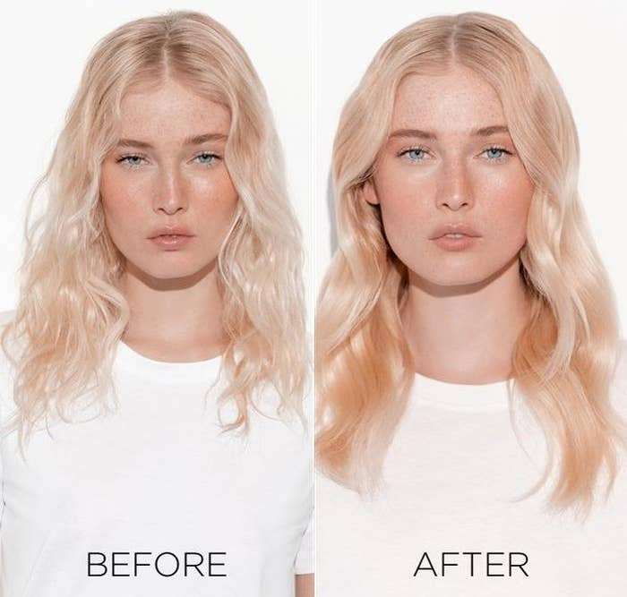A before photo of a model with dull, stringy hair, and an after photo showing the model with smooth, shiny hair