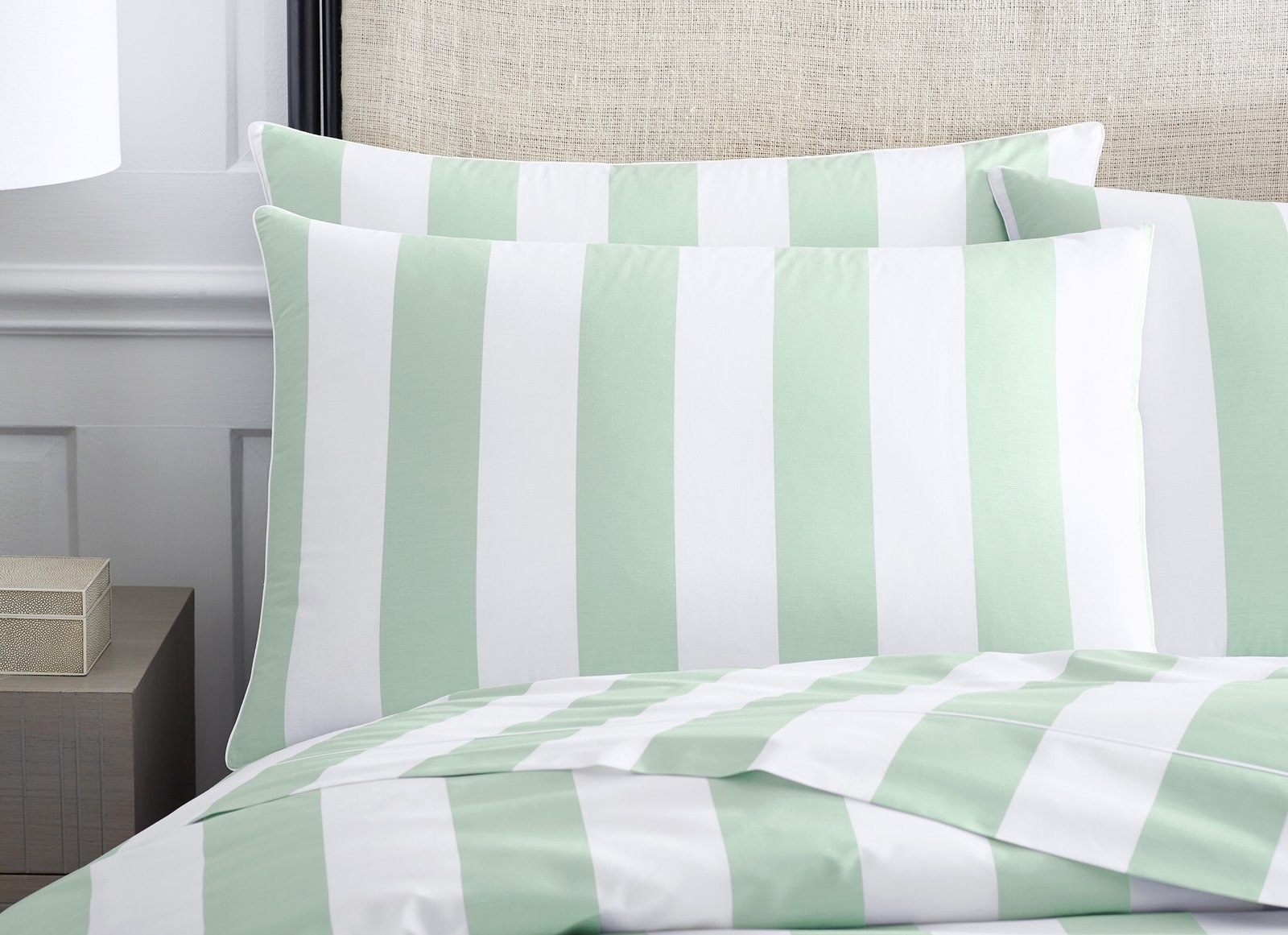The striped mint green and white pillowcase