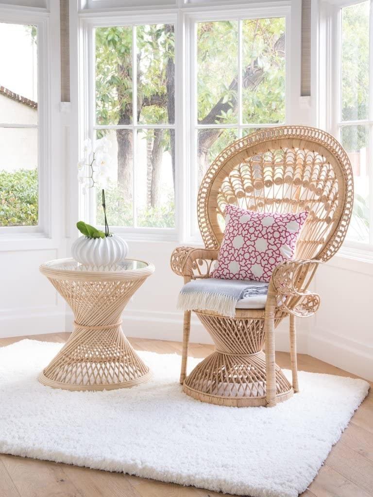 The tan woven peacock chair