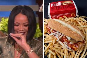 蕾哈娜在麦当劳的三明治旁大笑