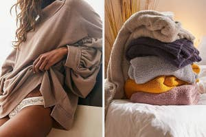 on the left model wearing brown sweater and on right a pile of plush blankets