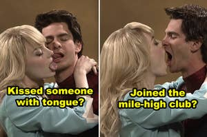 """Emma Stone and Andrew Garfield kissing each other awkwardly during a sketch on """"SNL"""""""
