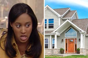 Split Image: Tamera on the left and a suburban house against a blue sky on the right