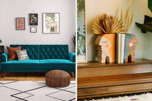 L: Dark teal tufted velvet couch R: Two head-shaped bookend vases